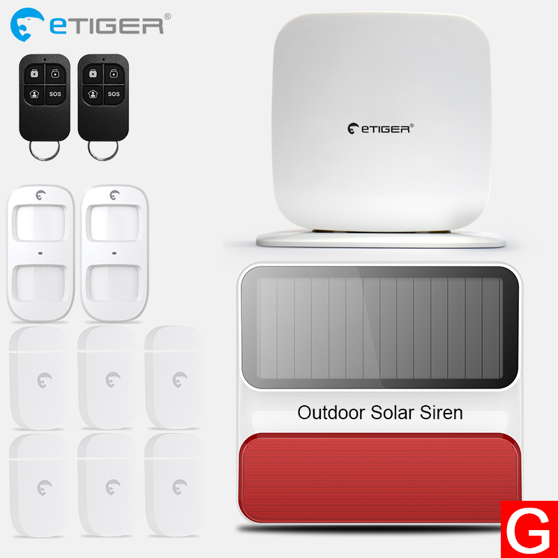 eTIGER SecualBox V2 IOS Android APP Remote Control Wireless 433mhz PIR Home Security Alarm System 2017 etiger intelligent android ios app remote control wireless home security pstn gsm alarm system kit large lcd screen