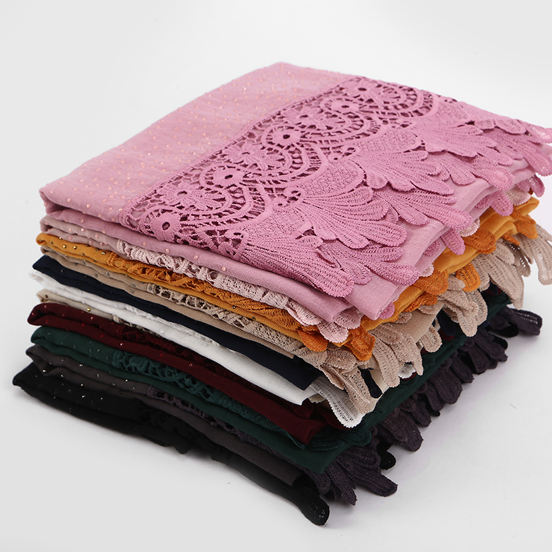 New Hot cotton Fashion lace   scarf   hijab floral embroidery and shinny beach   scarf   long muslim autumn   wrap     scarves  /shawls