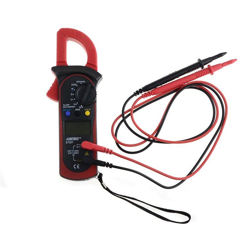 1 pièce Poche Numérique Pince multimètre ST-201 Vrai RMS LCD Multifuction Ohm DC AC Voltmètre AC Ampèremètre Données Testeur