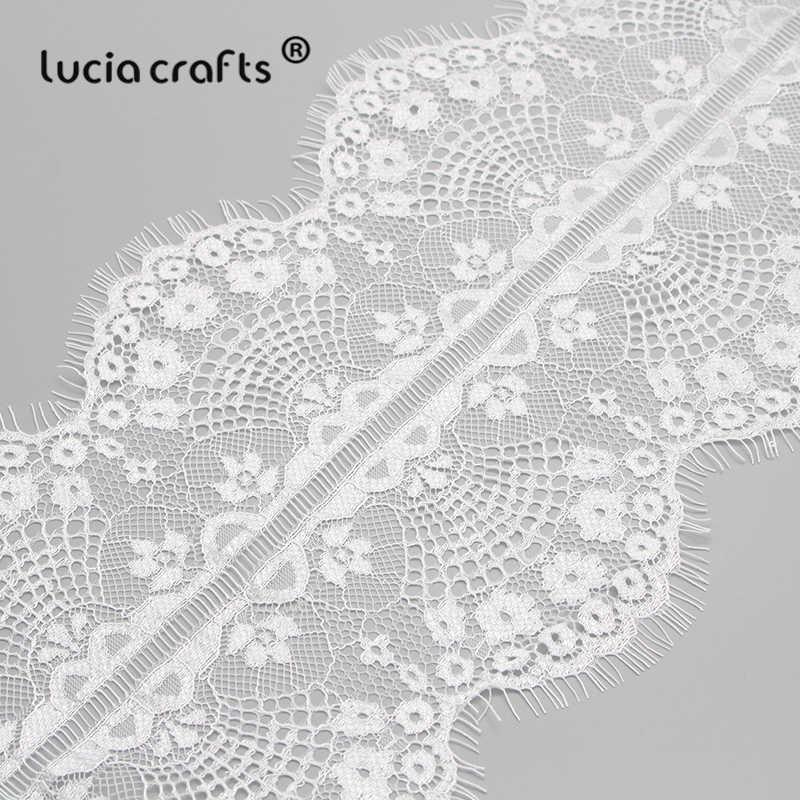 VENDITA! 3yards/lot Bianco Ricamato In Pizzo Tessuto Trim Nastro Decorazione di Cerimonia Nuziale FAI DA TE Accessori di Abbigliamento Cucito R0202