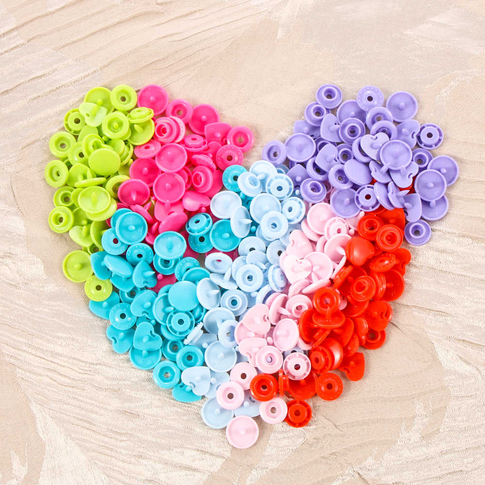 10set(40pcs) DIY Scrapbooking Sewing Accessories Love Heart Plastic Fasteners  Press Button Snap Buttons