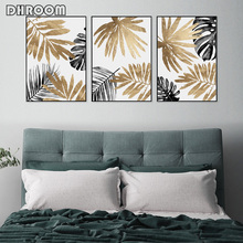 Nordic Decorative Painting Golden Leaf Posters and Prints Modern Minimalist Wall Art Canvas Picture for Living Room