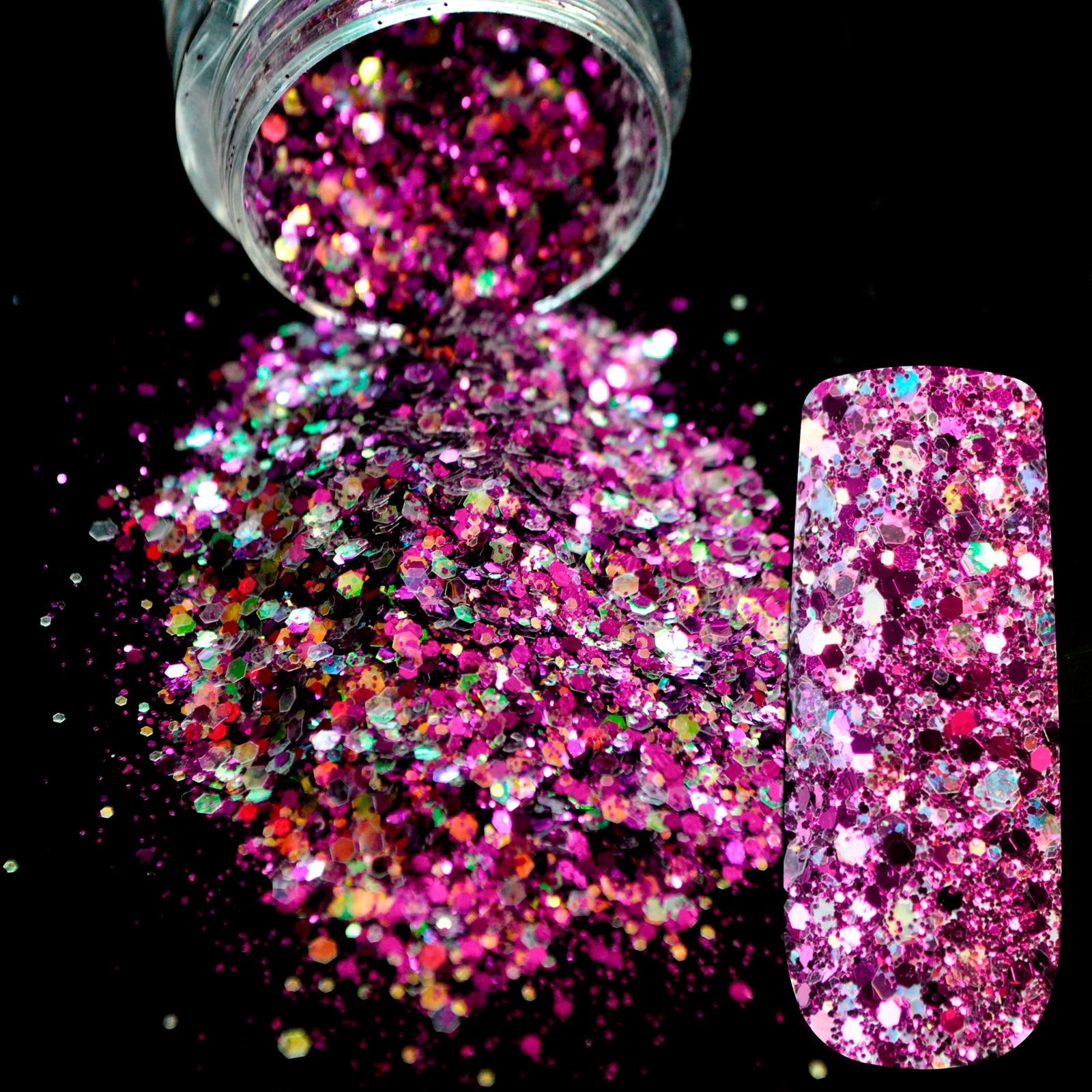 ツ)_/¯Dazzling Makeup Glitter Colored light Purple Nail Art Glitter ...