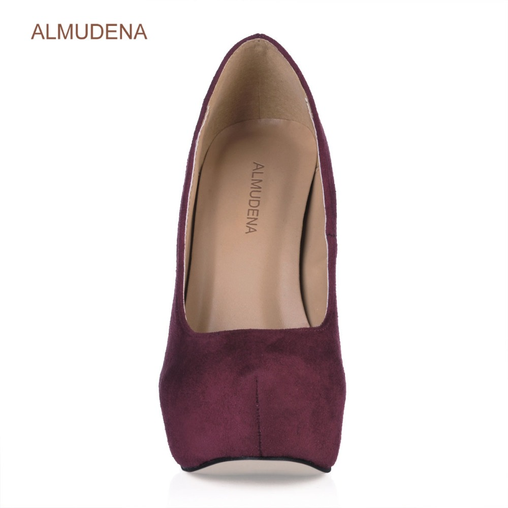 ALMUDENA New Arrival Wine Red Suede Platform Dress Pumps Thin High Heels Burgundy Blue Green Party Shoes Ultra High Heels - 2