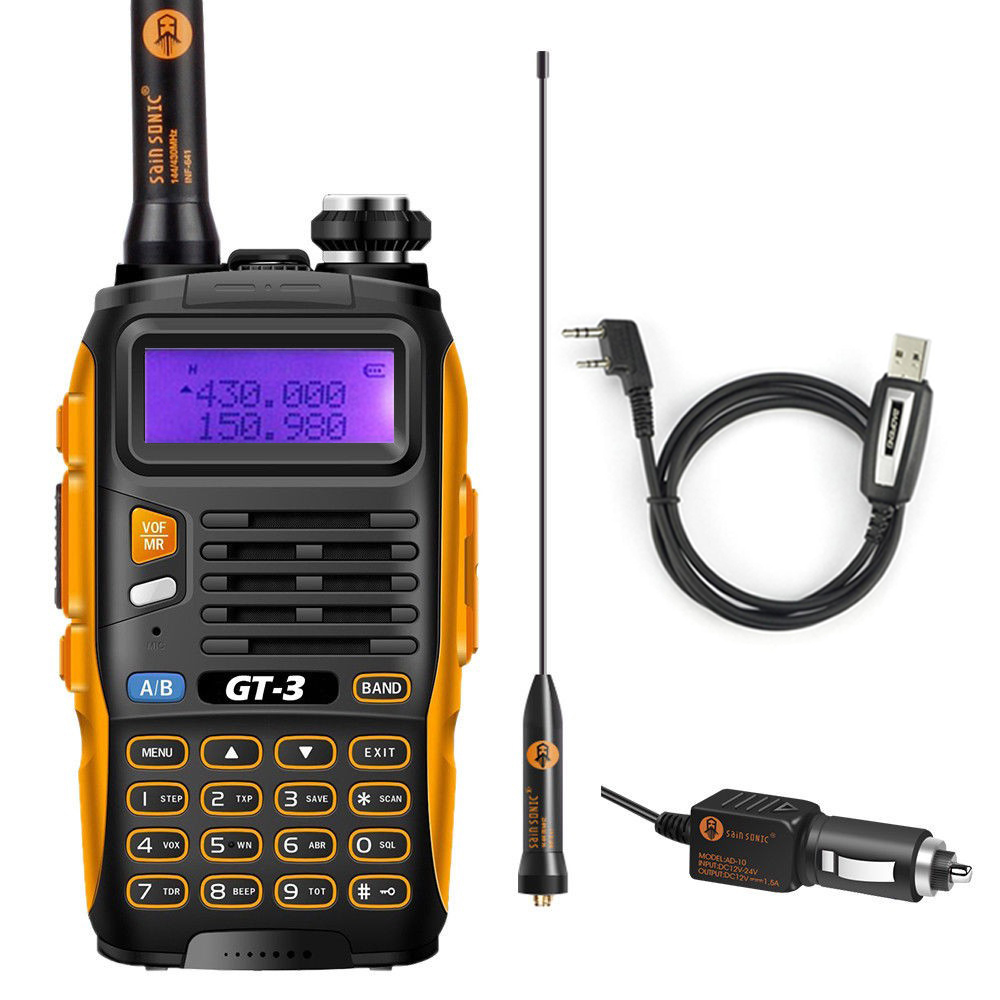 Baofeng GT-3 Mark II  HF/UHF 136-174/400-520 MHz Dual Band FM Ham Two Way Radio Walkie Talkie With Programming Cable