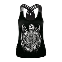 New 2018 Summer Skull Skeleton 3d Printed Tops Sleeveless Workout Tank Top Women Sexy Top Fitness