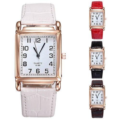 3ae40fbdfad3 Горячая Мода Для мужчин Для женщин Часы кожаный ремешок Квадратный  Циферблат Аналоговые кварцевые наручные часы