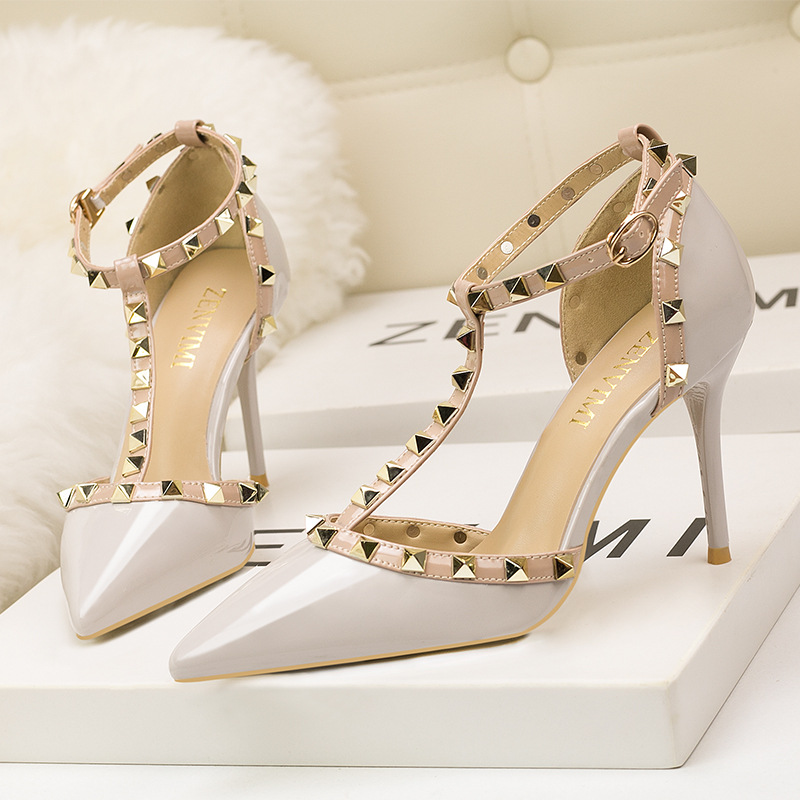 new women high heel pumps Solid buckle fashion sexy party shoes thin heel slip on wedding heels brand high quality 9 cm female women high quality pu leather waterproof platform shoes lady cute and sexy party slip on pumps female office high heel shoes