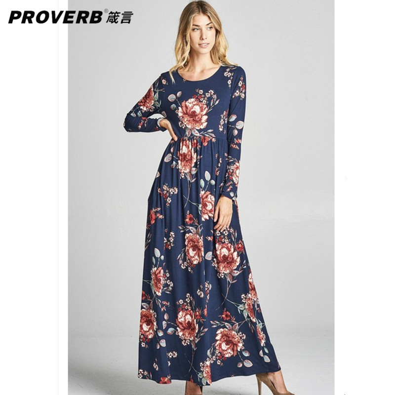 PROVERB Boho Women T Shirt Desses Floral Round Neck Long Sleeve Polyester Autumn Winter Maxi Dresses Beach Wear Vestidos