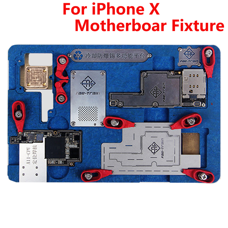 цена на Newest Eplosion-proof Cooling Tin Multi-functional Platform For iPhone X Motherboard Fixture A11 Circuit Board PCB Holder Jig