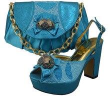 Freies verschiffen mit hochwertigen italienischen schuhe spiel tasche set für party, schuhe und passende handtasche mit blau! ZX1-21