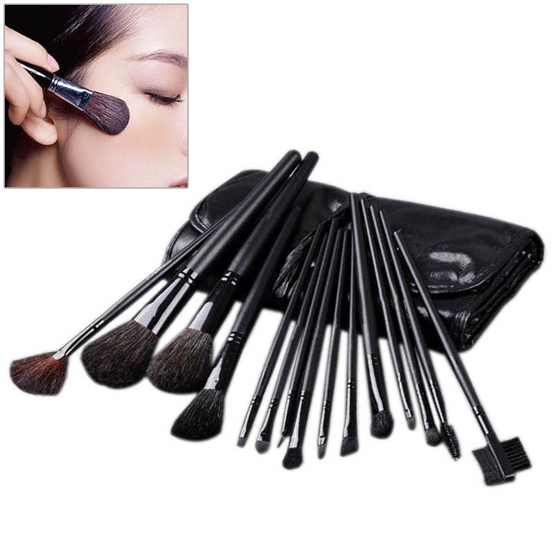 15 pcs Professional Cosmetic Makeup Brushes Set Kit Case Black Leather Face Care Make Up Brushes H7JP