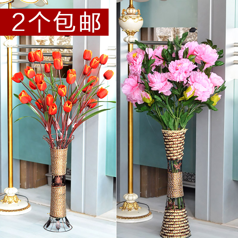 Get Quotations Middot Wo Rattan Flower Artificial Iron Vase Floor Pot Home Decoration White Brief