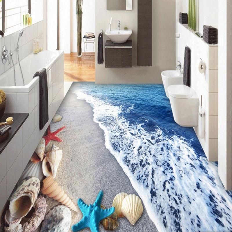 Benutzerdefinierte Boden Tapete 3D Strand Sand Schalen Wohnzimmer ...