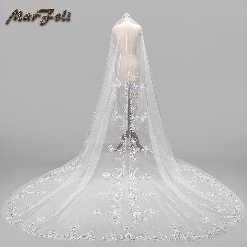Свадебная вуаль 4 метра длина 2,5 м ширина реальное изображение белый \ слоновая кость блестки бисер край Соборная свадебная вуаль свадебные