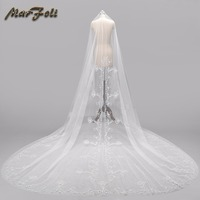 Wedding Veil 4 Meters Length 2.5M Width Real Image White\Ivory Sequins Bead Edge Cathedral Bridal Veils wedding accessories