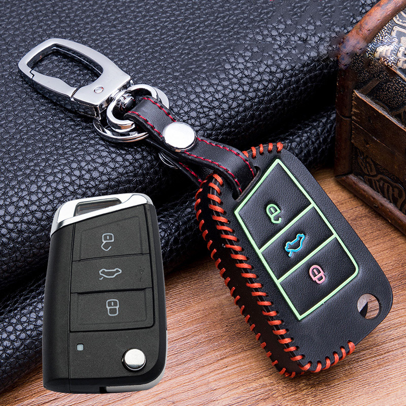 Image 4 - Hand sewing Luminous Leather Key Bag Key Cover Case For VW Golf 7 mk7 Skoda Octavia A7  Polo Key Portection Car Accessories-in Key Case for Car from Automobiles & Motorcycles