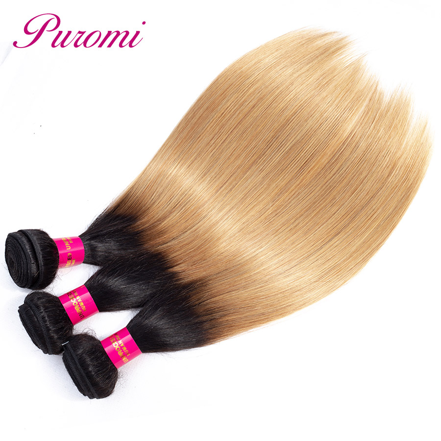 Ombre Straight Wave Hair 3 Bundles 1b/27 Brazilian Hair Wave Bundles Puromi 100% Remy Hair Extensions 3 pcs-in Hair Weaves from Hair Extensions & Wigs    1
