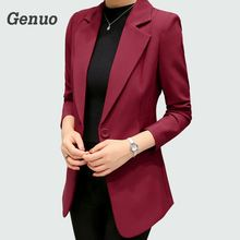 Wine Red Black Women Blazers And Jackets 2018 New Spring Autumn Fashion Single Button Blazer Femenino Ladies Blazer Female black single button blazer with irregular hem