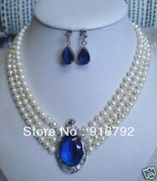 free shipping >>>>Great fresh water pearl silver inlay blue stone 3row woman's necklace earring set