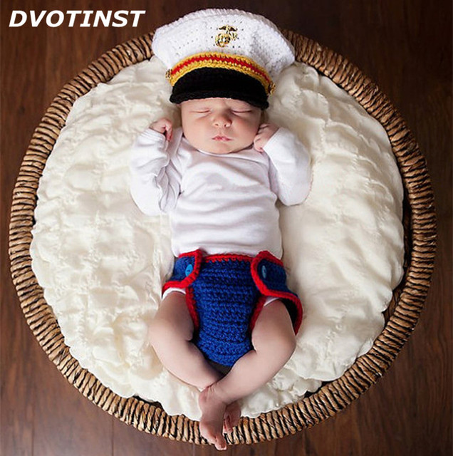 Dvotinst Newborn Baby Photography Props Crochet Knit Sailor Navy Captain Hat+Shorts  Fotografia Accessories Infant Studio Shoot 07b1e190d49
