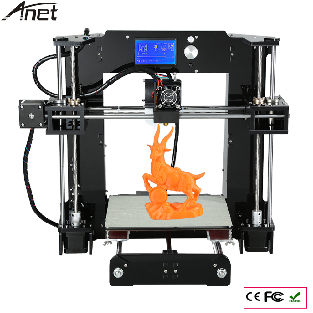 Anet A6 Size 220*220*250mm 3D Printer Kit Reprap Prusa i3 DIY Full Kit free Filament 16GB SD Card & Software & Video&Tool Free 2017 new anet easy assemble 3d printer upgrated reprap prusa i3 3d printer large print size kit diy with filament 16gb sd card
