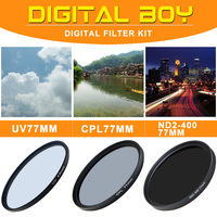 Digital Boy 77mm Neutral Density ND2 400 77mm CPL 77mm UV Filter Kit For Canon Nikon