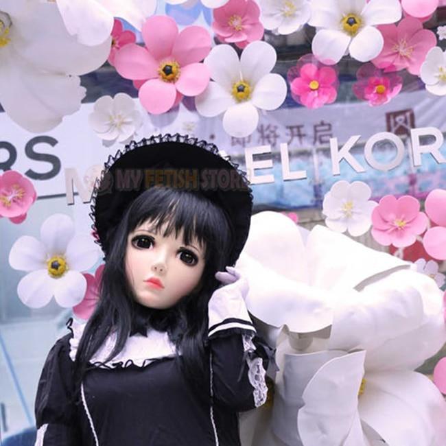 zi-04 United female Sweet Girl Resin Half Head Kigurumi Mask With Bjd Eyes Cosplay Japanese Anime Role Lolita Mask Crossdress Doll Buy One Get One Free