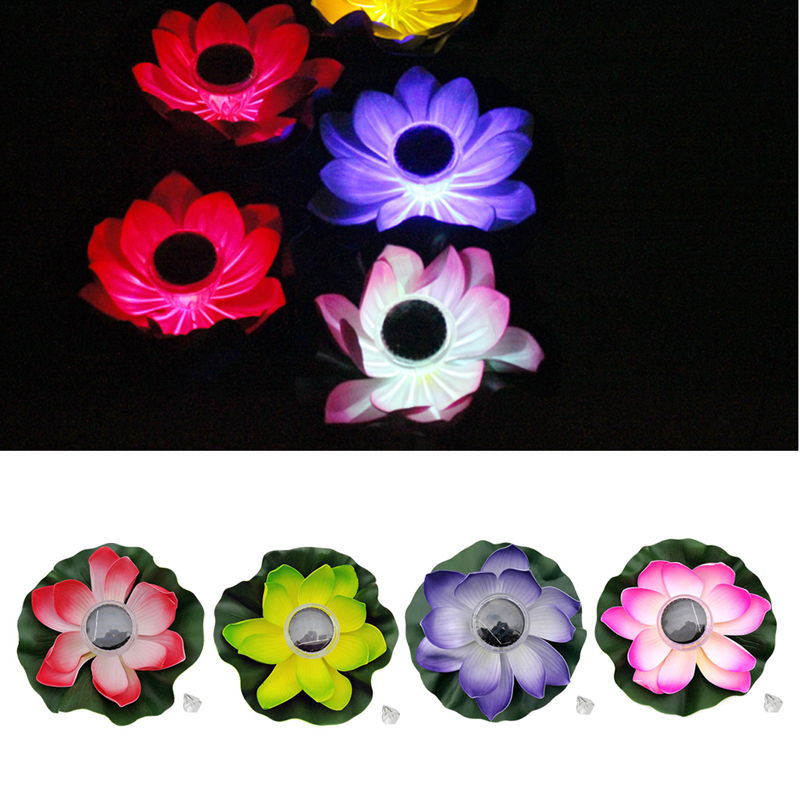 7 Color Solar LED Lotus Light Flower Night Lamp Floating Float Pond Garden Pool -B119