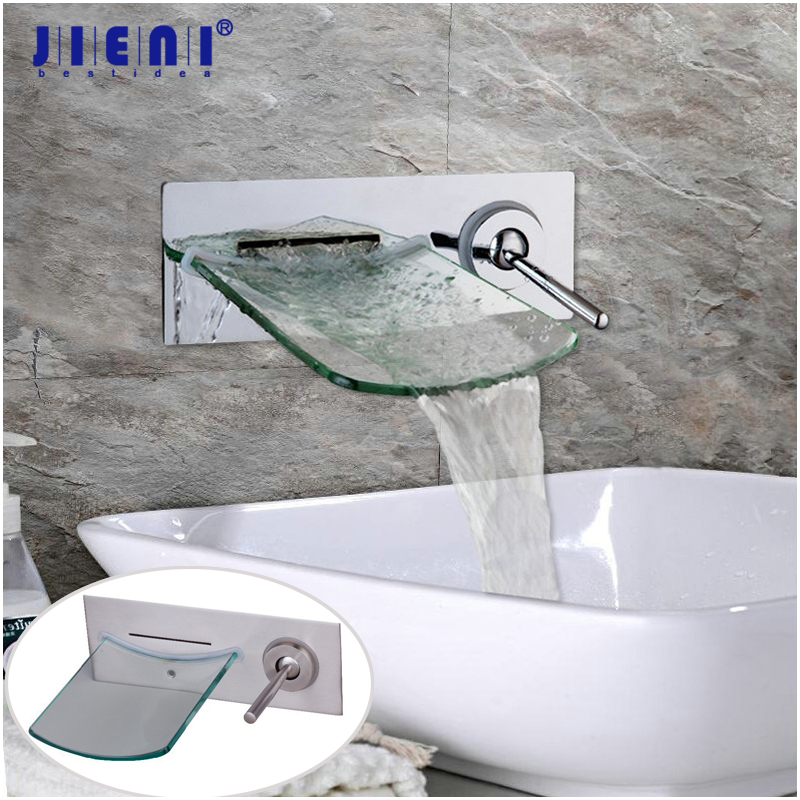 JIENI Wall Mounted Waterfall Glass Spout Nickel Brush Chrome Polish Solid Brass Bathroom Bathtub Faucet Single