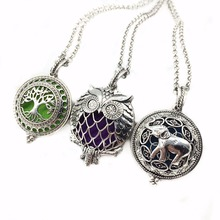 3pcs Mixed Owl Bird Tree Elephent Copper Antique Silver Locket Aroma Essential Oil Diffuser Trendy Pendant Necklace Jewelry Gift