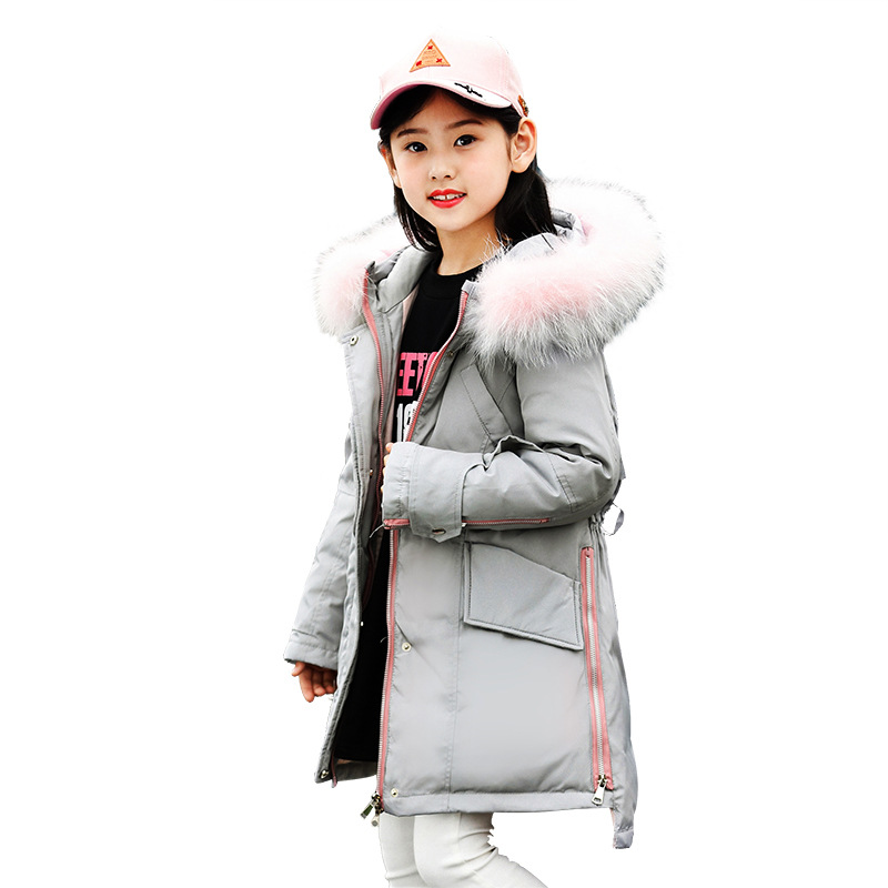 Children Down Jacket 2018 New Girls Winter Coat Kids Long Thick Outwear Coat White Duck Down Fur Collar Solid Color Jacket 5-14Y 2015 new winter thick down jacket women black and white patchwork color plus size coat white duck down 90% down jacket ae396