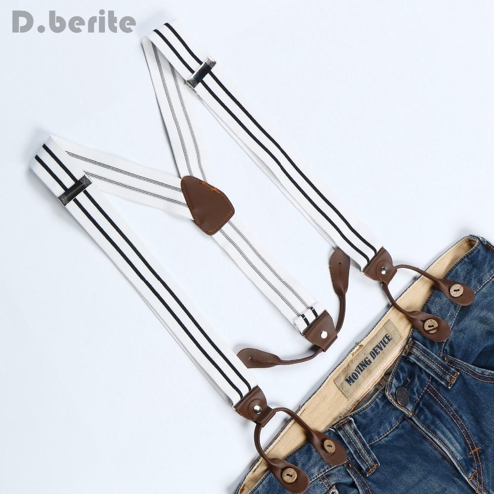 Men's Adjustable Buttons Adult Belt Elastic Suspenders Unisex Black And White Stripe Braces 3.5cm Width BD769