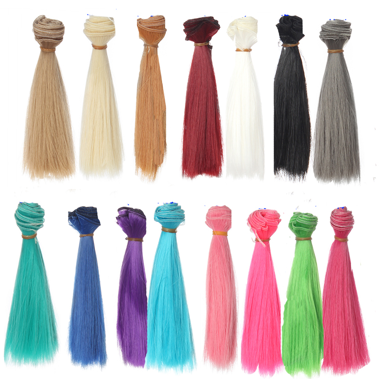 15cm Length 1 Piece Natrual Black Brown Pink Green Blue Red White Color Thick Bjd Wigs Doll Hair Tree