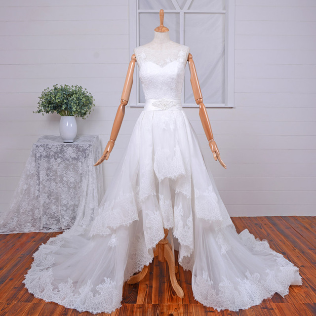 Real Photo High Low Wedding Dresses Vintage Plus Size Lace Tulle A ...