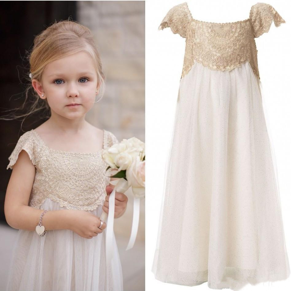 Vintage   Flower     Girl     Dresses   for Wedding Floor Length Champagne Lace Ivory Chiffon First Communion   Dress   Kids Birthday Party Gown