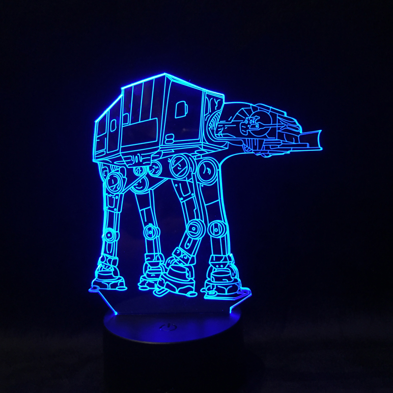 Asmarluxx Official Store Children Sleep 3D Night Light AT-AT Imperial Walker LED Desk Lamp Home Decor USB Table Lampara Free Drop Ship
