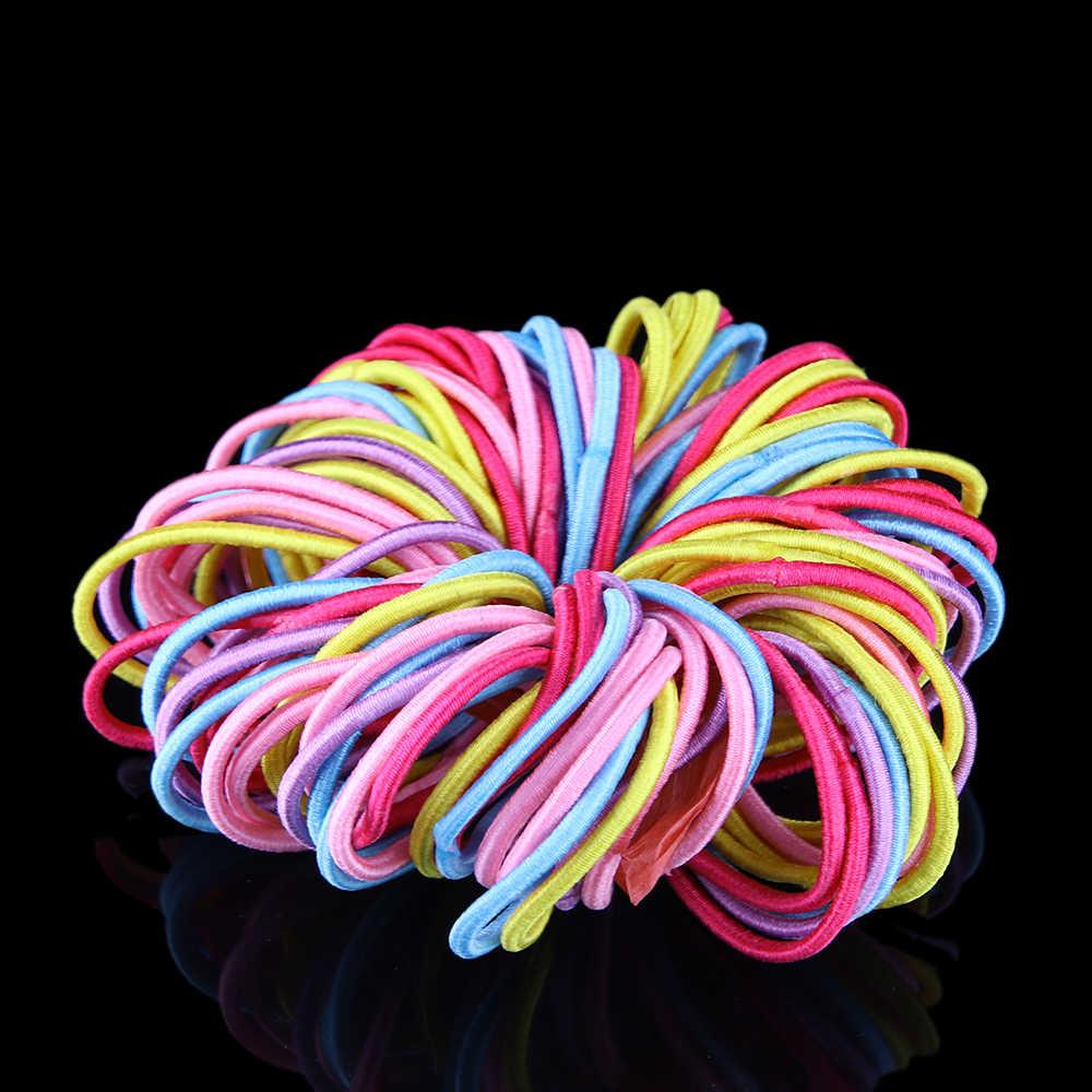 100 шт./партия, милый Детский Эластичный маленький зажим для волос, веревка, кольцо, хвостик, держатель, 3 мм, случайный цвет, оптовая продажа