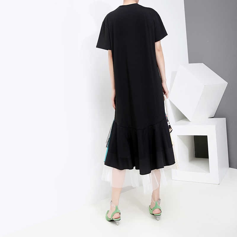 Nieuwe 2020 Koreaanse Stijl Vrouwen Zomer Zwarte A-lijn Jurk Kleurrijke Print Zoom Knielengte Lady Leuke Midi Jurk Stijl Robe femme 5198