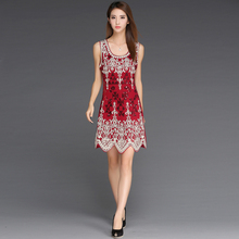 Sexy Embroidery Flower Sequined Nightclub Bag Hip Red sequin dress vestidos de fiesta LM0117