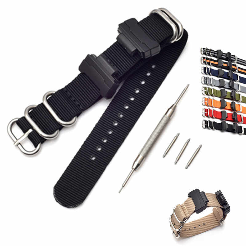 Adapters16mm Conversion + Nylon Watch Band Strap Kit for GShock MIL-Shock DW-5600/9052 GA-110GLS-8900 GD-110 GW-M5610 DW-6900