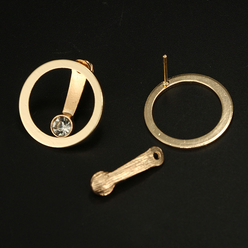 New European Vintage Gold Color Earrings Circle Handmade Cool Crystal Small Stud Earring For Women Bijoux Fashion Jewelry