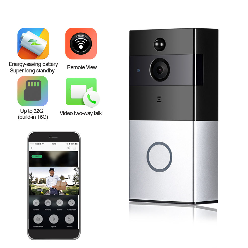 IP Video Intercom Wifi Video Door Phone Ring Door Bell PIR Infrared Detection Wifi Visual Doorbell Camera Built-in 16GB SD Card стоимость
