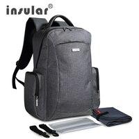 Insular nuevo estilo gran capacidad multifuncional bebé pañal bolsa mochila mamá Nappy bolsa mochila incluyen plástico servilleta