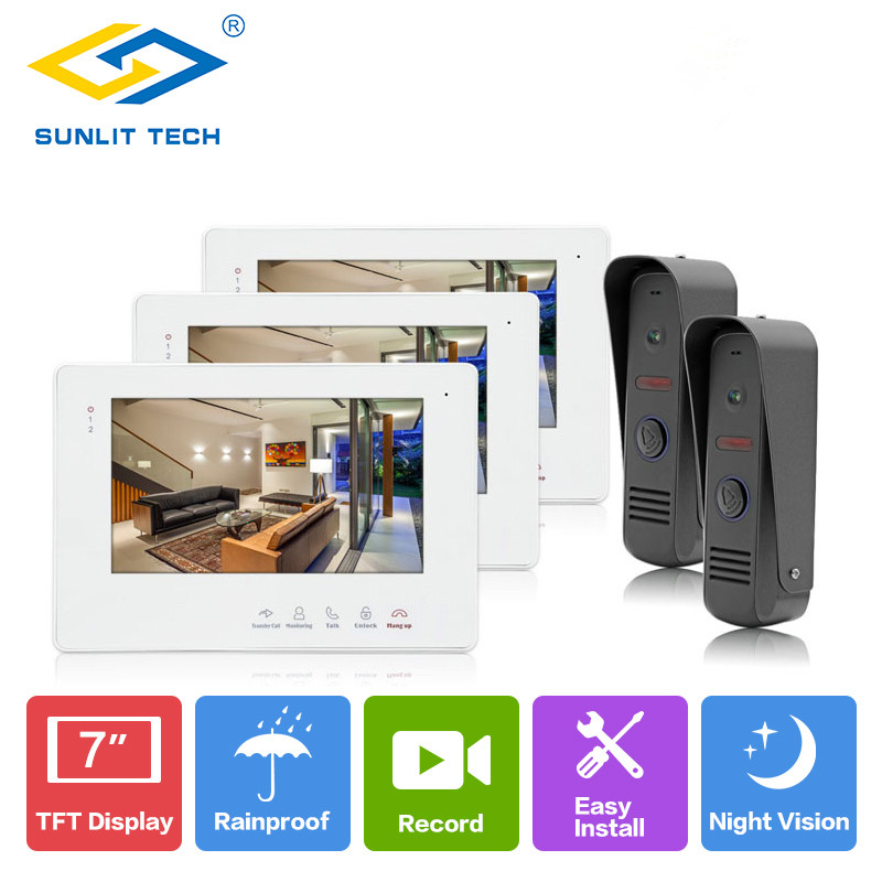 7 inch LCD Video Door Phone Intercom Camera Monitor Outdoor Intercom Door Entry Access System Security for Villa Home Take Photo v70h l 1v1 xsl manufacturer 7 inch color water proof video door phone system and audio intercom door phone for villa