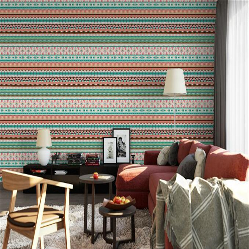 Custom Wallpapers Roll Vintage Indian Wall Paper Home Decor Simple Stripe Wall Paper American Style Living Room Wall Wallpaper shinehome european roman pillar angel soft roll wallpaper for 3d rooms walls wallpapers for 3 d living room wall paper murals