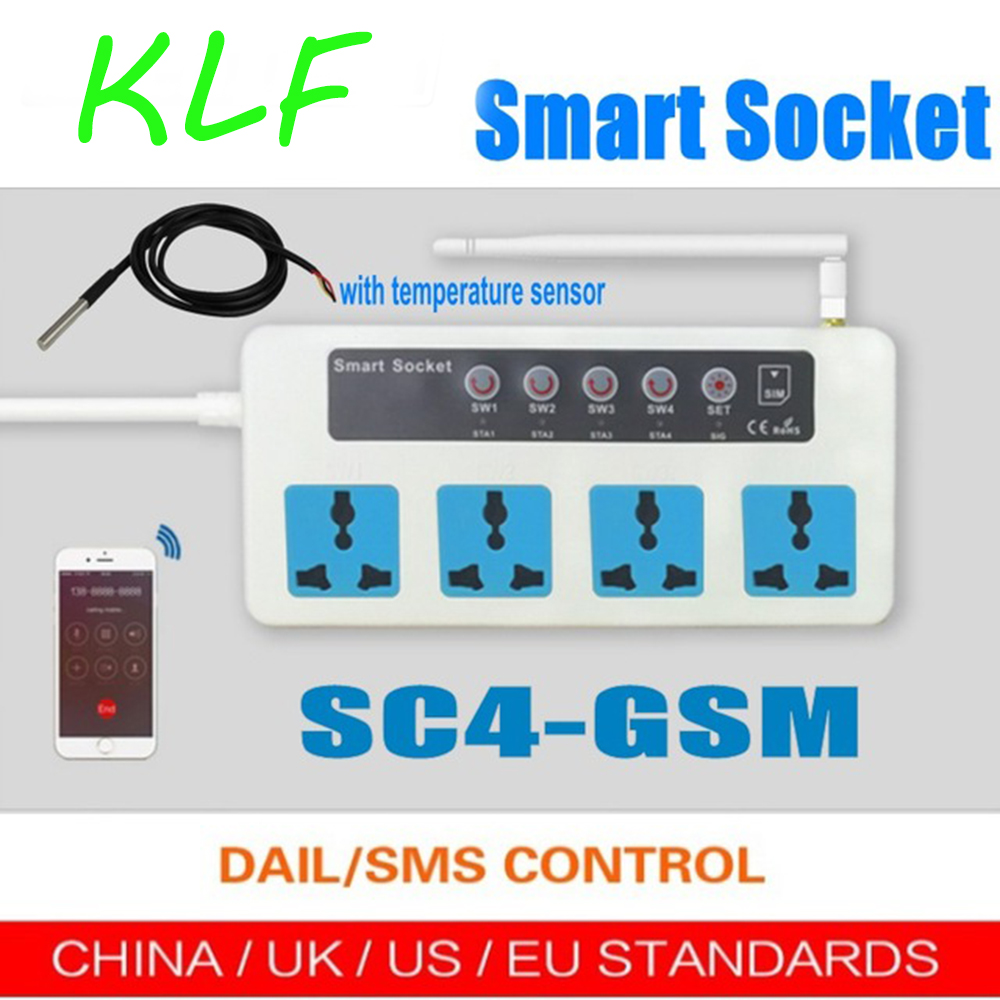 SC4 SC3 GSM SMS Remote Control 4 Outlets Wireless Smart Switch Power Plug socket with temperature sensor Energy saving in Transmission Cables from Security Protection