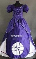 Принцесса София платье Косплэй костюм для Рождество Хэллоуин нарядное платье с жемчугом индивидуальный заказ Бесплатная доставка