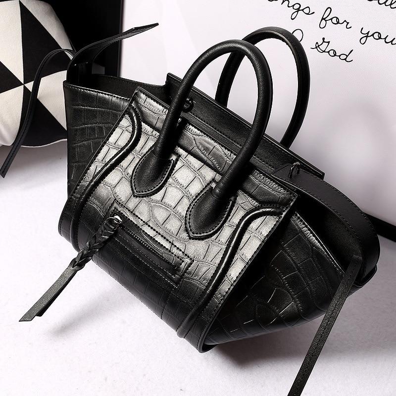 Women Crocodile Genuine Leather High Quality Smile Purse Famous Brand Designer Trapeze Handbags Luxury Shoulder Crossbody Bags kovea набор ложка и вилка титан nz tc 310