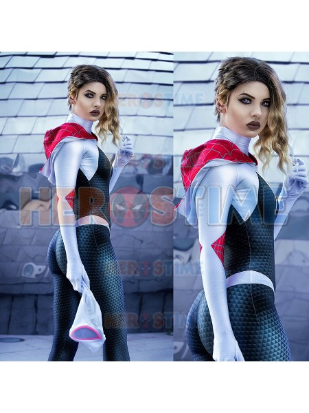Spider Gwen Stacy Costume Cosplay 3D Printed Into The Spider-Verse Superhero Costume Cosplay Suit For Female/Kids/Custom Made